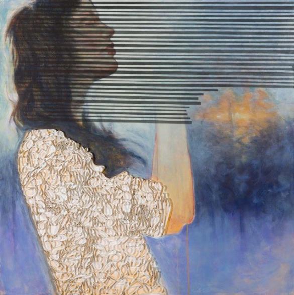 «Constater et marcher en même temps», Acrylique sur toile montée galerie, rideau de douche, ©Brigitte Toutant, 2015, sur http://culturat.org/boutique/items/constater-et-marcher-en-meme-temps.