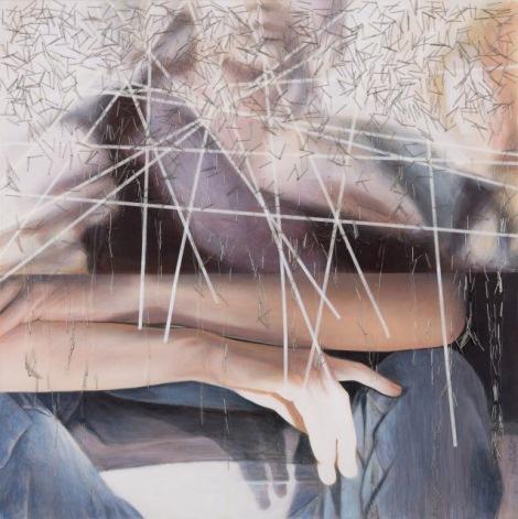 «Puis, j'ai recommencé à ressentir mon sang circuler», Acrylique sur toile montée galerie, aiguilles, ©Brigitte Toutant, 2015, sur http://culturat.org/boutique/items/puis-jai-recommence-a-ressentir-mon-sang-circuler.