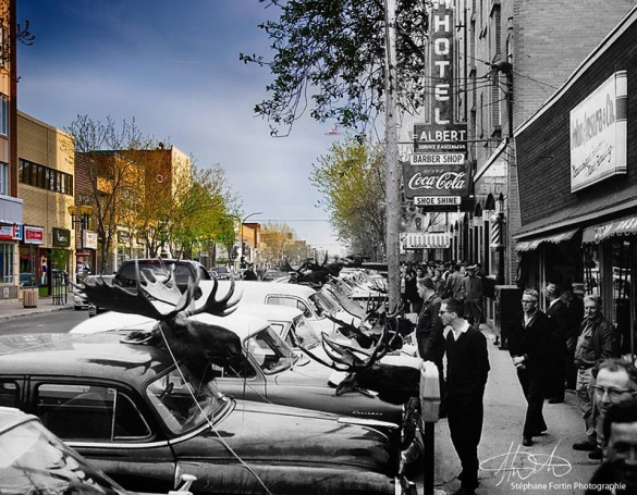 « Rue Principale : hier et aujourd'hui », photographie, ©Stéphane Fortin, 2015, sur www.facebook.com/fortinphotographie.