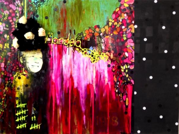 « Tout n'est pas noir ou blanc », Techniques mixtes recouvert d'un epoxy,  ©Véronique Doucet, 2014, sur http://culturat.org/boutique/items/tout-n-est-pas-noir-ou-blanc-hommage-a-nelson-mandela