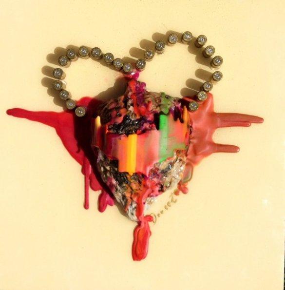 « Peine d'amour », Techniques mixtes, ©Véronique Doucet, 2012, en vente sur http://culturat.org/boutique/items/peine-d-amour.